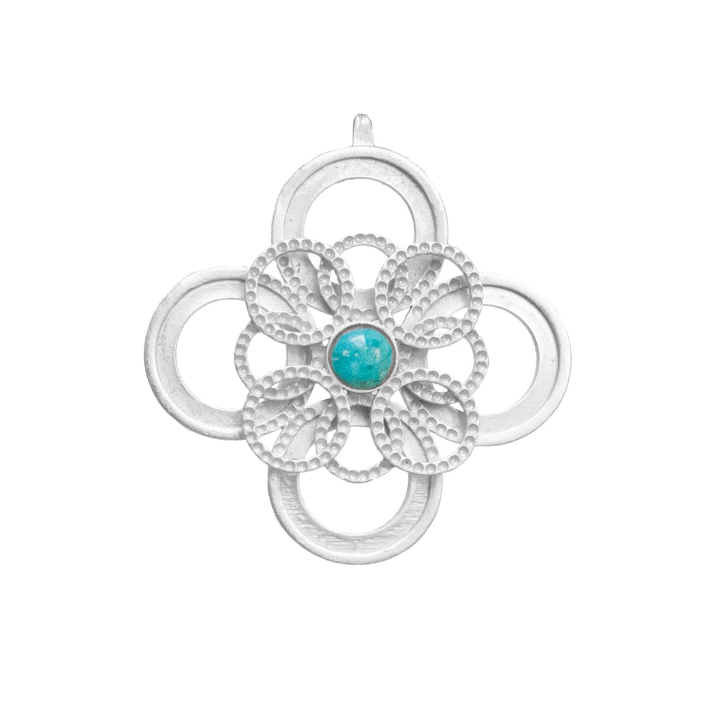 Infinity Silver Pendant In Turquoise
