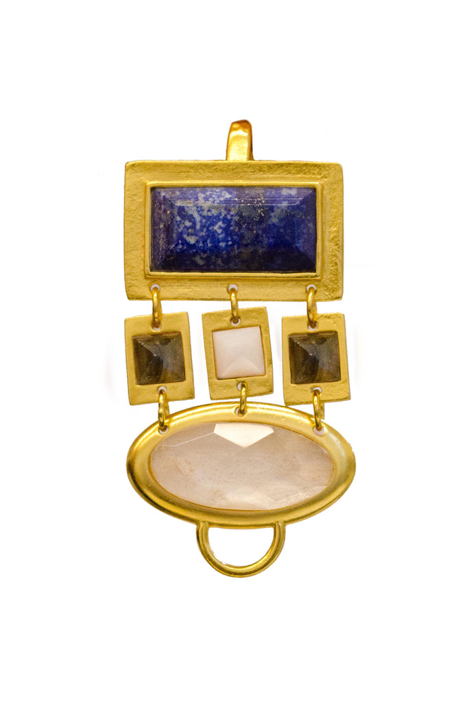 Bijeux Triplet Pendant In Blue Lapis Rectangle, White Quartz Squares, Labradorite Squares and White Quartz