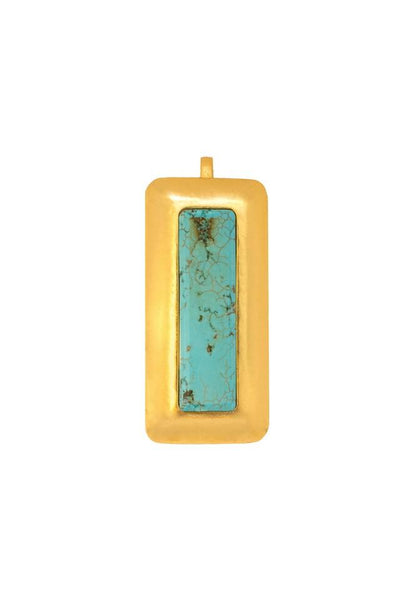 Crush Rectangle Pendant In Turquoise