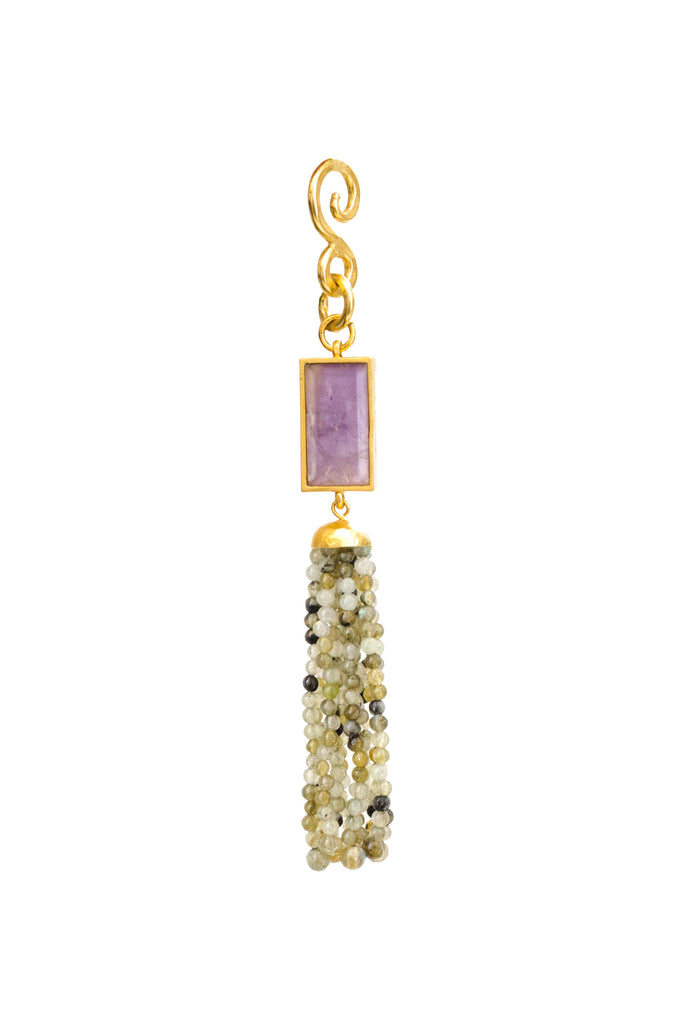Balance Pendant In Light Amethyst Rectangle and Green Aventurine Beads