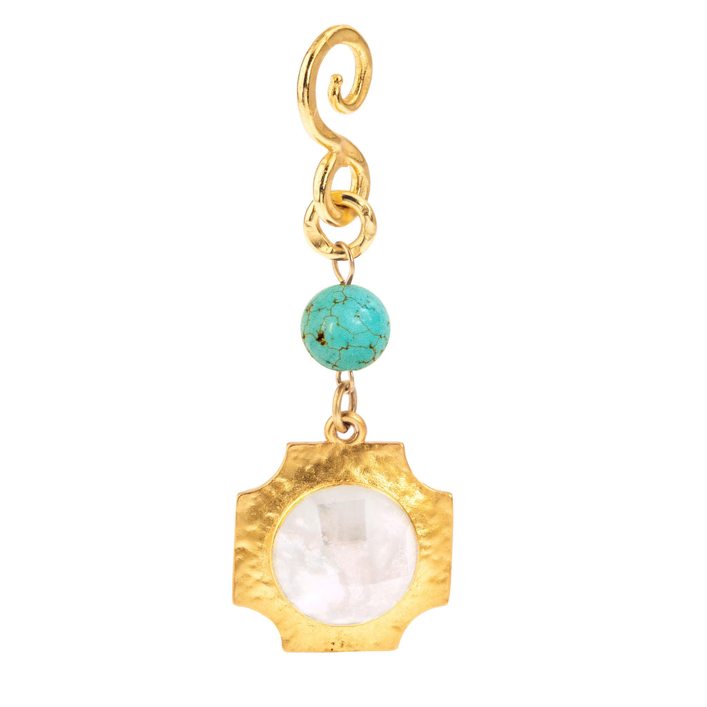 Dream Pendant In White Quartz Round and Turquoise