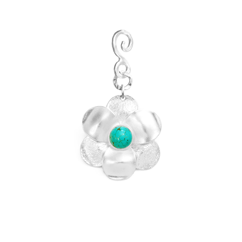 Flower Silver Pendant In Turquoise