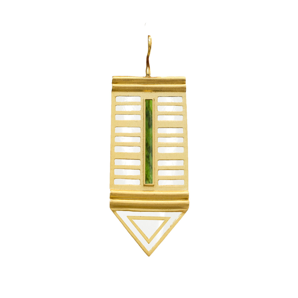 Mosaic Pendant In Gold, Green Turquoise Howlite C and Turquiose Howlite C