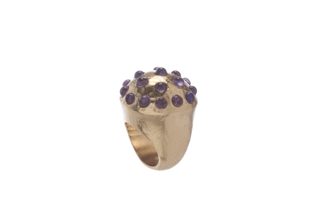 Empress Round Ring in Dark Amethyst