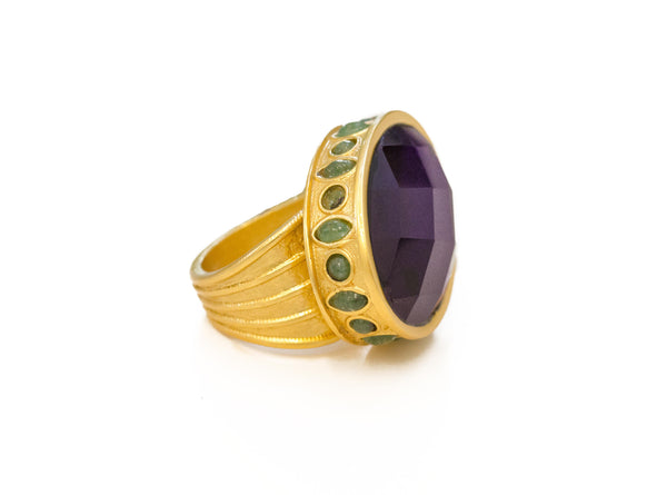 Edwardian Ring In Dark Amethyst and Green Jade