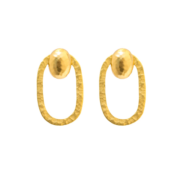 Paris Classic Gold Clip Earring- Paris Oval; Nugget Oval