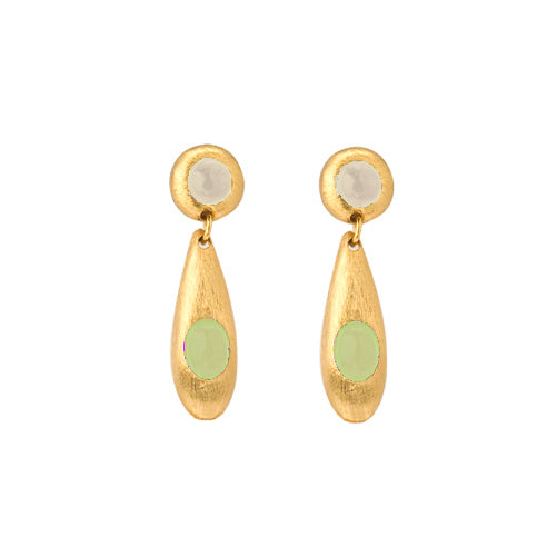 Earring - Pebble - Double - Peridot, White Quartz