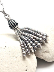 Cloud Cover 18K White Gold Tassel Necklace