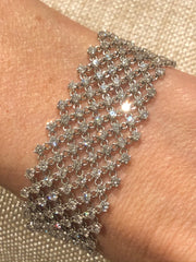 Floating Diamond Mesh 18K White Gold Bracelet