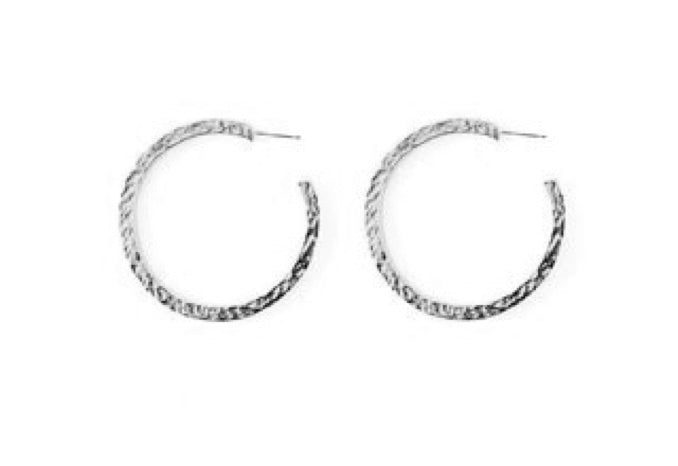 Nugget Hoop Medium Sterling Silver Earring