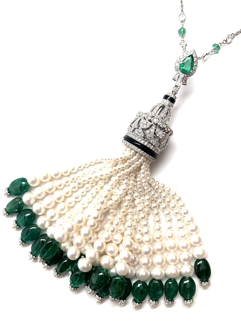 Emerald Top Hat Tassel 18K White Gold Necklace