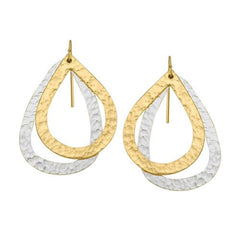 Paris Double Drop Earrings - Gold Small Drop, Medium Silver Drop