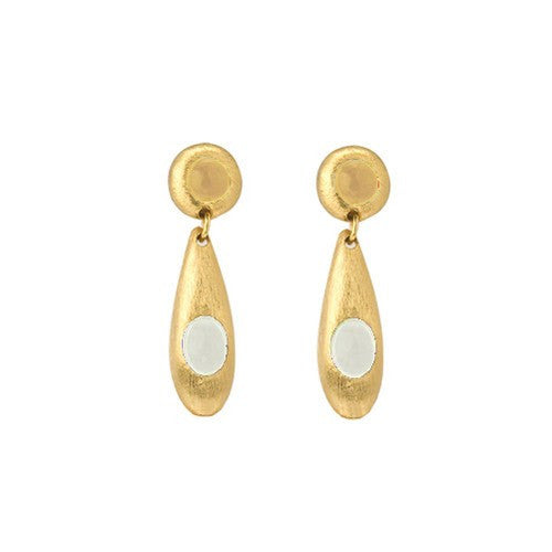 PEBBLE DOUBLE GOLD EARRINGS - WHITE QUARTZ, CITRINE
