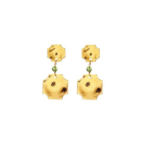 RUSSET LARGE DOUBLE GOLD EARRINGS - PERIDOT