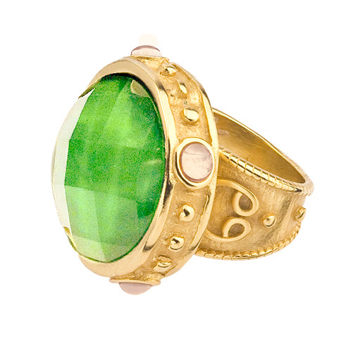 Jester Ring Gold Green Crystal