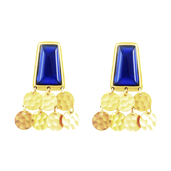 Nobility Earring Gold Blue Quartz