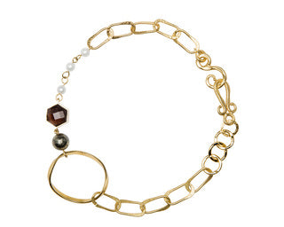 Organic NE Gold, Pyrite Bead C, Smoky Topaz Hexagon F, Pearl Bead C