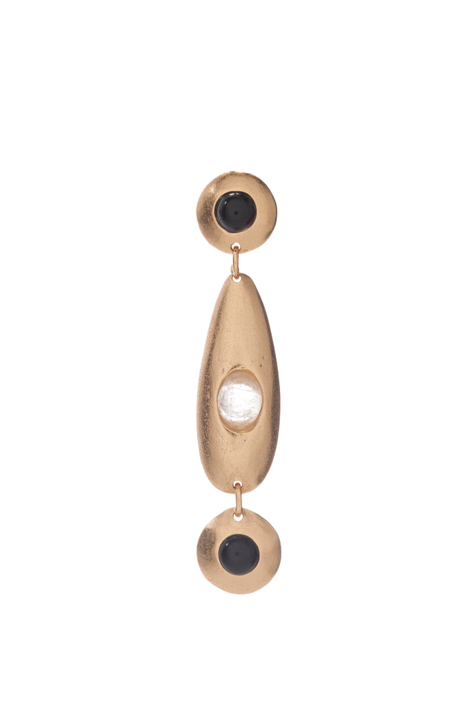 Earring - Pebble - Triple - White Quartz, Onyx