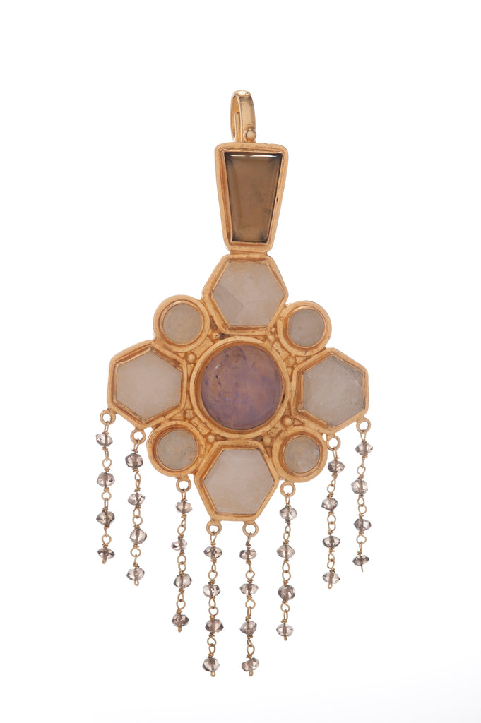 Pendant - Nobility - Smoky Topaz Trapezoid, White Quartz Hexagon, Amethyst Center, White Quartz Rounds, Smoky Topaz Small Drops