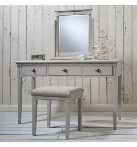 grey dressing table and mirror