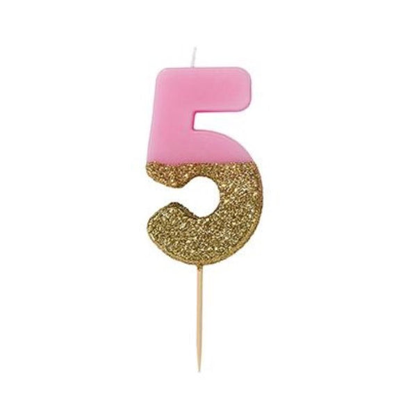 Candle - We Heart Birthday Glitter Pink - Number 5 - MeMe Antenna