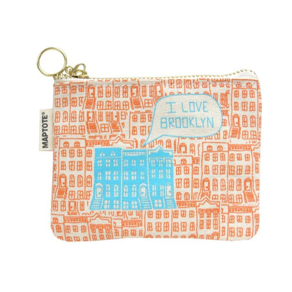 Zipped Coin Purse - Brooklyn - Orange/Blue - MeMe Antenna