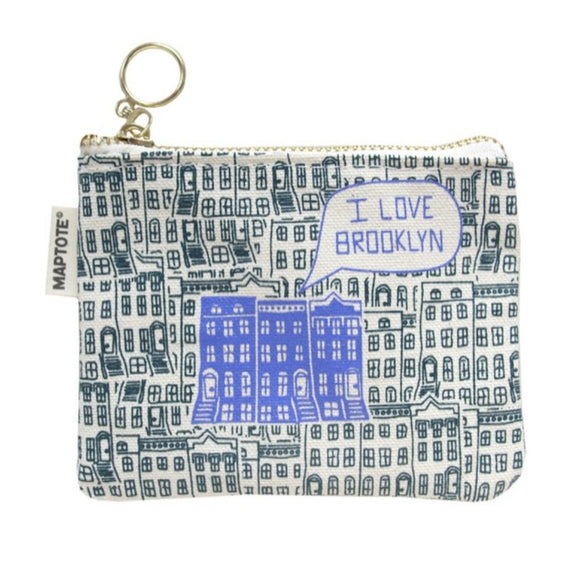 Zipped Coin Purse - Brooklyn - Dark Teal/Periwinkle - MeMe Antenna