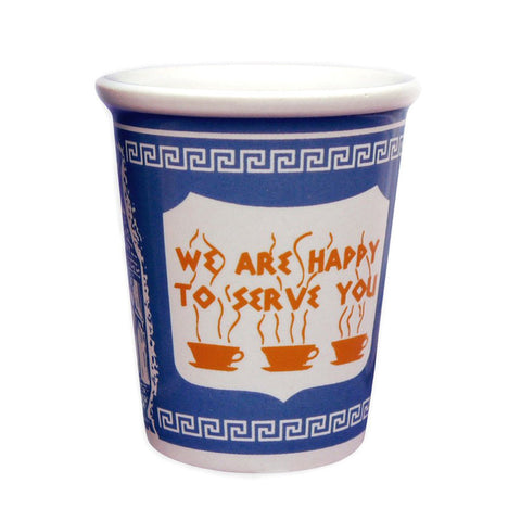 """We Are Happy To Serve You"" Ceramic cup (10oz)-MeMe Antenna"