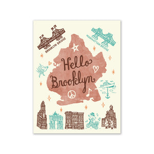 "GMBK Greeting Card - ""Hello Brooklyn"" By Bite n' Kiss - MeMe Antenna"