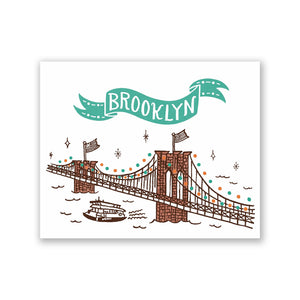 "GMBK Greeting Card - ""Brooklyn Bridge"" By Bite n' Kiss - MeMe Antenna"