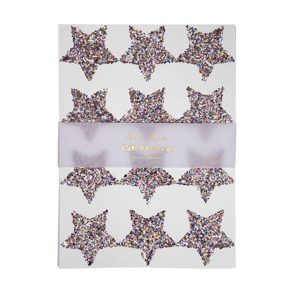 Glitter Stickers : Rainbow Glitter Stars (pack of 10 sheets) - MeMe Antenna