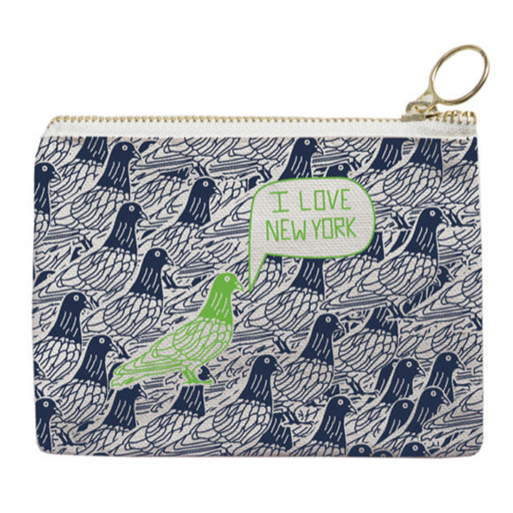 Zipped Coin Purse - New York City - Navy/Green - MeMe Antenna