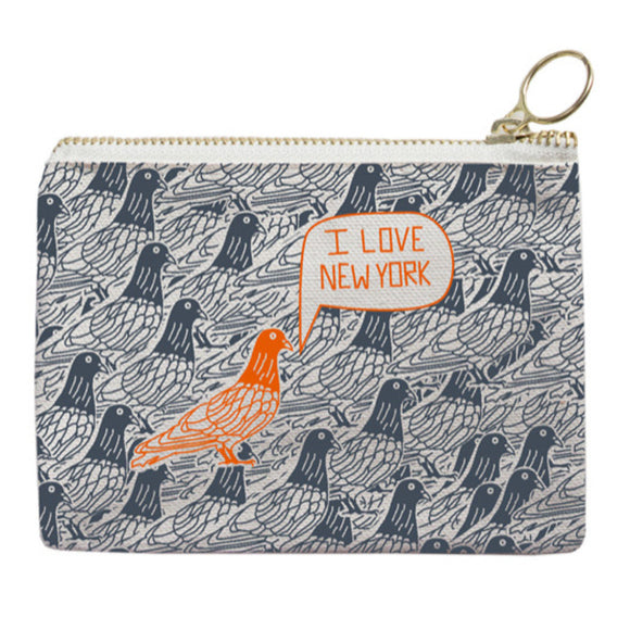 Zipped Coin Purse - New York City - Grey/Orange - MeMe Antenna