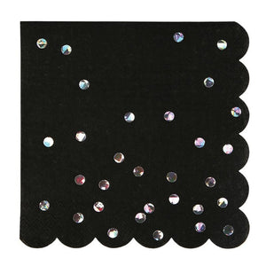 Napkins - 16 Black Holographic Large - MeMe Antenna