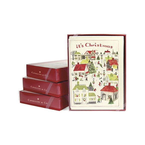 Holiday Greeting Card Set - Christmas Village - MeMe Antenna