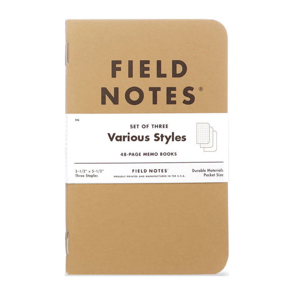 FIELD NOTES - Original Kraft 3 Packs Mixed - MeMe Antenna