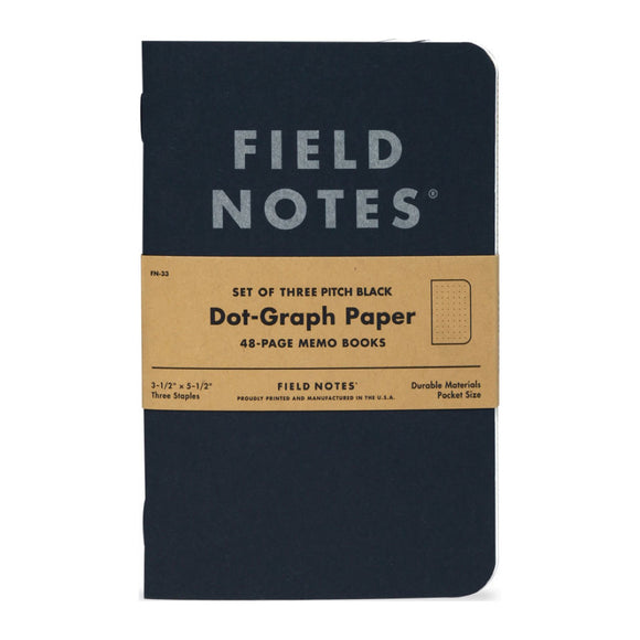 FIELD NOTES - Pitch Black Memo Book Dot Graph - MeMe Antenna