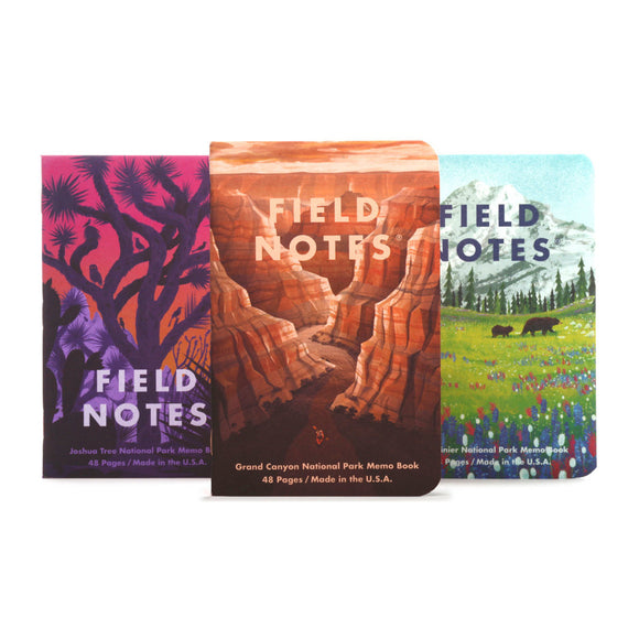 FIELD NOTES - National Parks 3-Pack B - Grand Canyon, Joshua Tree, Mt. Rainier - MeMe Antenna