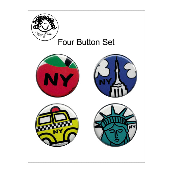 Button Pin Set - New York #1 - Set of 4 - MeMe Antenna