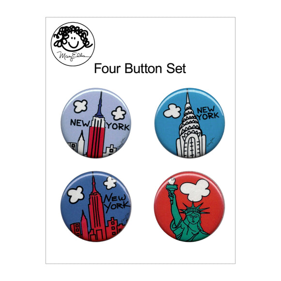 Button Pin Set - New York #4 - Set of 4 - MeMe Antenna