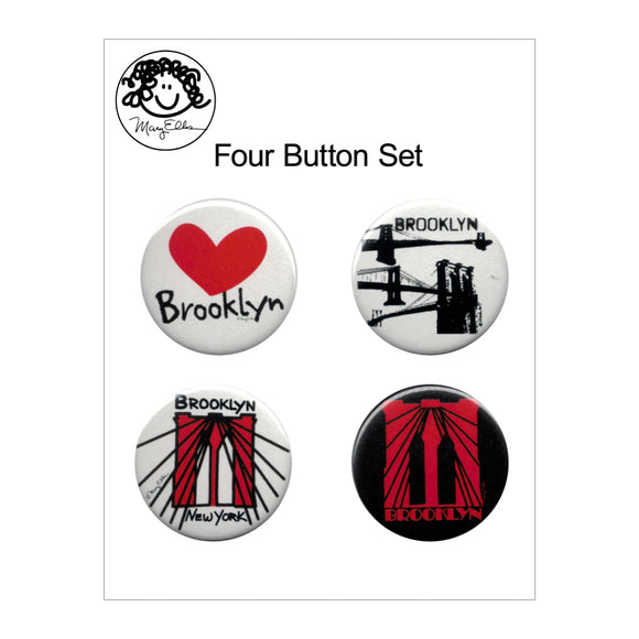 Button Pin Set - Brooklyn - Set of 4 - MeMe Antenna