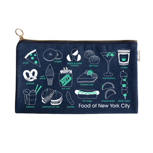 Pouch - New York City Foodie Slim Pouch - Denim - MeMe Antenna