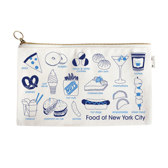 Pouch - New York City Foodie Slim Pouch - Natural - MeMe Antenna