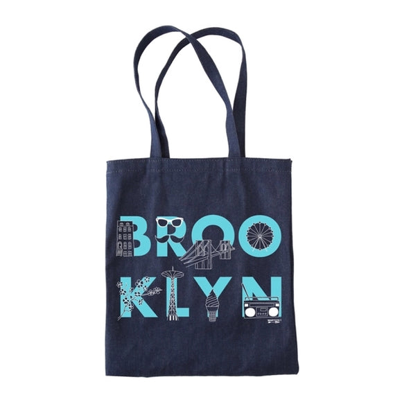 Tote - Brooklyn FONT - Denim - MeMe Antenna