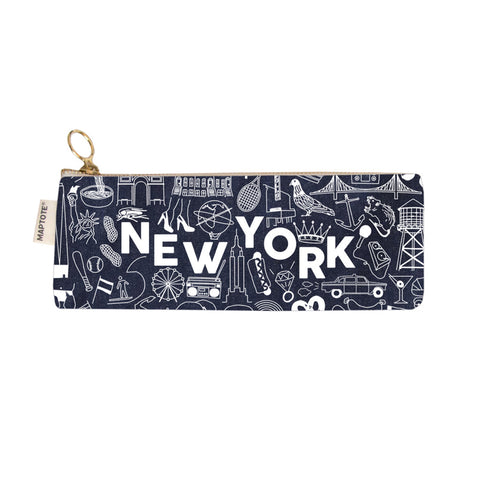 Zipped Pencil Case - New York - Denim - MeMe Antenna