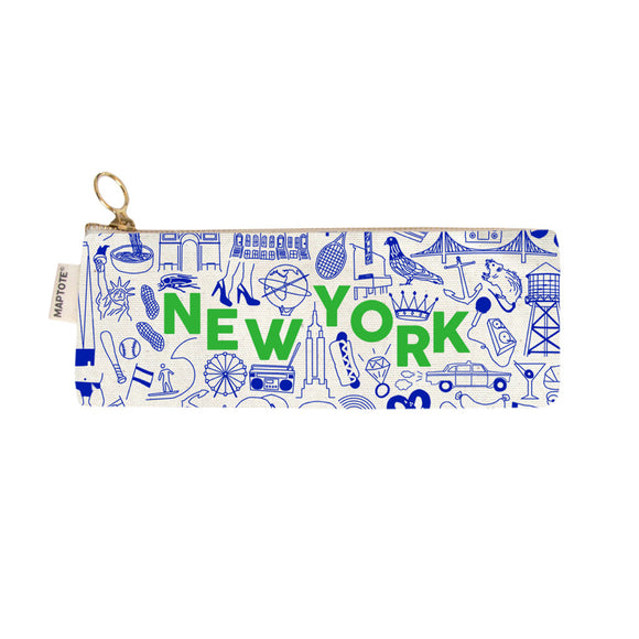 Zipped Pencil Case - New York - Natural - MeMe Antenna
