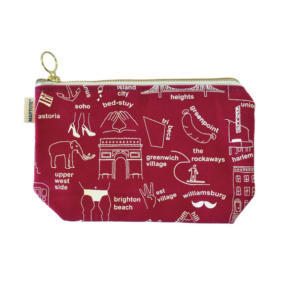 Zipped Pouch - New York City - Red - MeMe Antenna