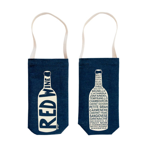 Wine Tote Denim - Red Wine - MeMe Antenna