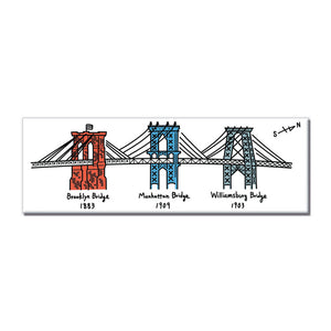 Magnet - NYC 3 Bridges (White) - MeMe Antenna