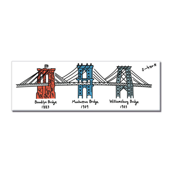 Magnet - NYC Three Bridges (White) - MeMe Antenna